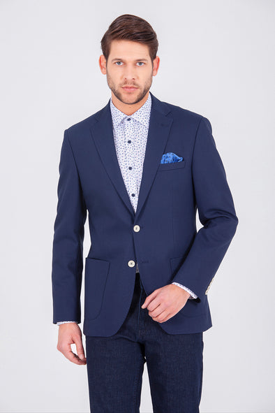 SAYKI Men's Single Breasted Slim Fit Navy Blazer