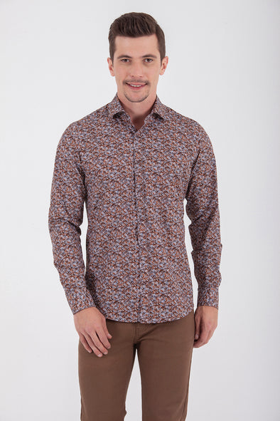 Sayki Men's Slim Fit Patterned Cotton Shirt