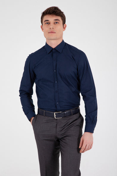 Sayki Men's Regular Fit Navy Shirt