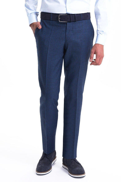 SAYKI Men's Slim Fit Blue Gigham Wool Pants-SAYKI MEN'S FASHION