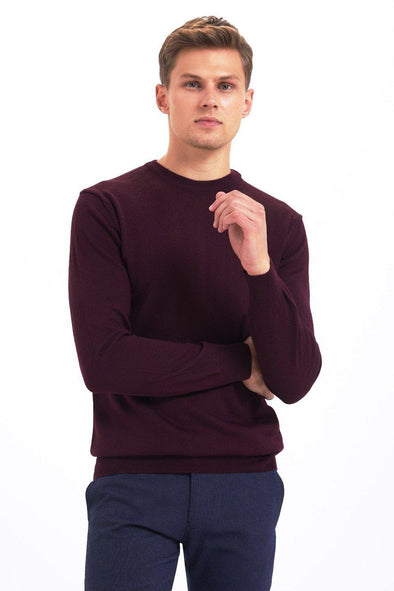 SAYKI Men's Crewneck Burgundy Sweatshirt-SAYKI MEN'S FASHION