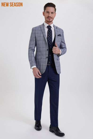 SAYKI Men's Slim Fit Single Breasted Checkered Suit
