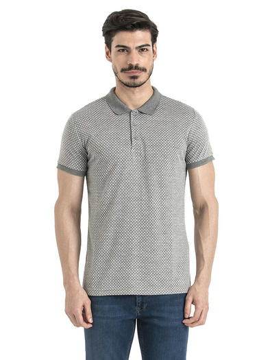 SAYKI Men's Polka Dot Grey-White Polo T-Shirt-SAYKI MEN'S FASHION