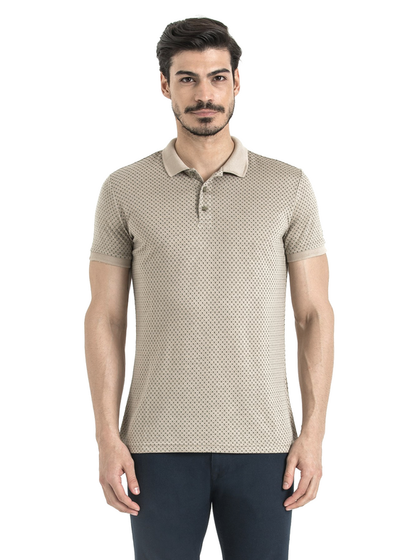 SAYKI Men's Polka Dot Grey-White Polo T-Shirt