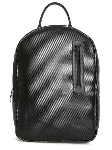 Black Faux Leather Backpack-SAYKI MEN'S FASHION