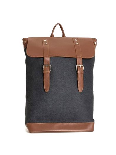 Camel Faux Leather Backpack-SAYKI MEN'S FASHION