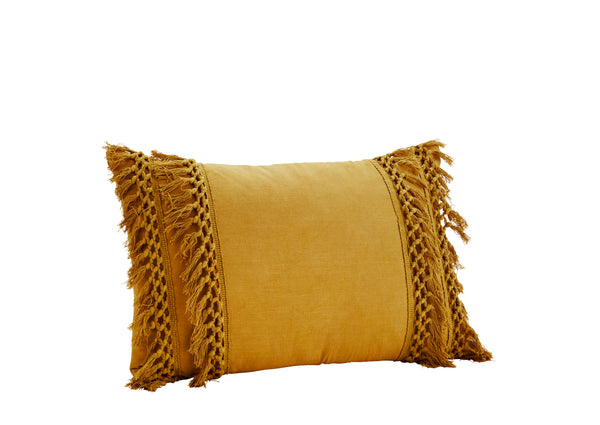 Mustard Cushion with fringes