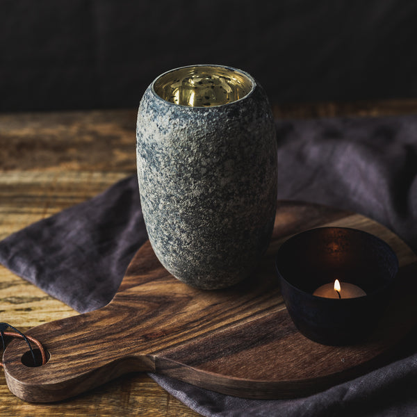 Grey vase with gold interior finish