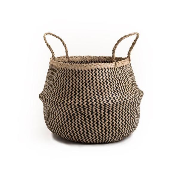 Handmade Natural Seagrass Belly Basket (Black & Natural)