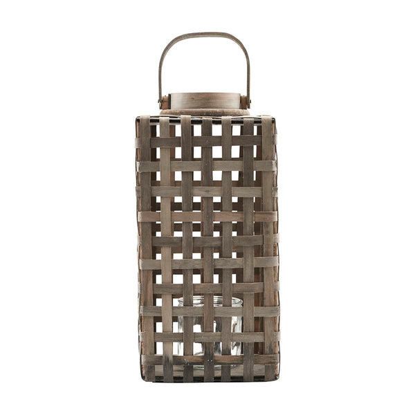 Wooden, weaved wooden lantern by house doctor
