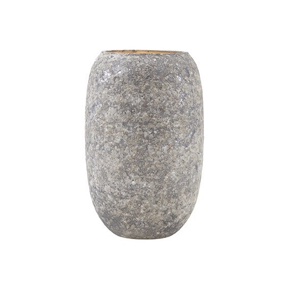 Grey textured vase with gold interior finish