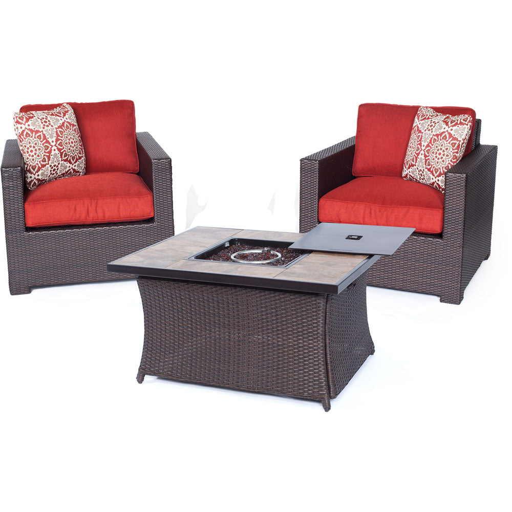 Hanover MET3PCFP-BRY-B Metropolitan 3 Piece Chat Set with LP Gas Fire Pit Table, Autumn Berry