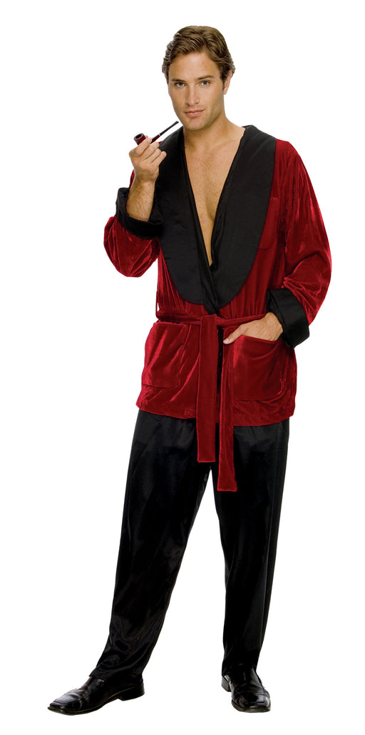 Secret Wishes Men's Playboy Hugh Hefner Smoking Jacket Costume, Burgundy, X-Large
