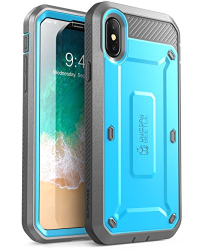 iPhone Xs Case, iPhone X Case, SUPCASE [Unicorn Beetle Pro Series] Full-Body Rugged Holster Case with Built-in Screen Protector Kickstand for iPhone X 2017 & iPhone Xs 5.8 inch 2018 Release (Blue)