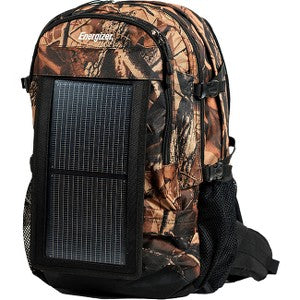 PowerKeep Energizer Wanderer, 30L Solar Backpack w/ 10000mAh Battery, Rugged and Flexible Solar Panel, powerbank, Hydration Ready (Camo)