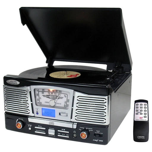 PyleHome Retro PTCD8UB Record/CD Turntable - SD - CD-R - Black - Audio Line Out - USB