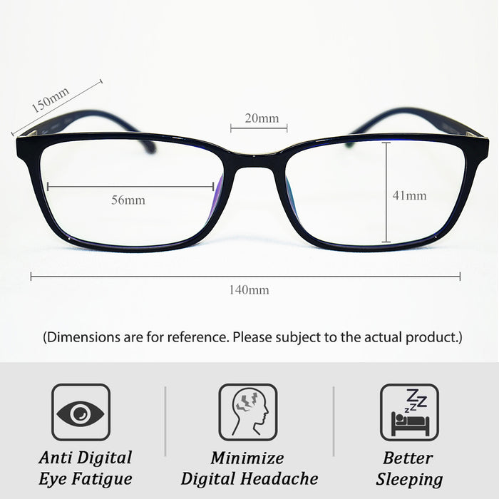 Kingmate Unisex Stylish Square Non-Prescription Eyeglasses Glasses, Block Blue Light, Reduce Digital Eye Strain - Near Clear Lens Eyewear G-01
