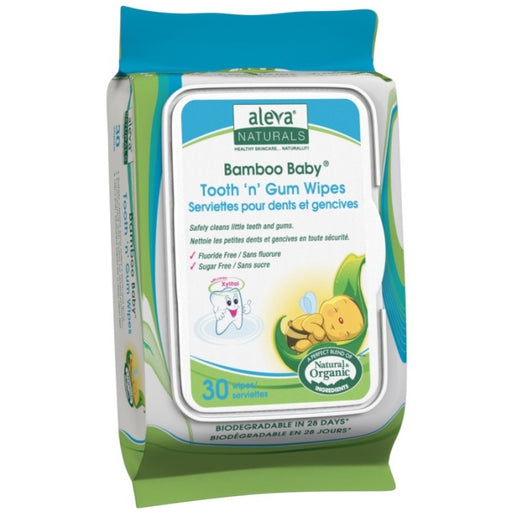Aleva Naturals Bamboo Baby Tooth 'n' Gum Wipes, 30 Count - 30 Tooth 'n' Gum Wipes - Safely Clean Little Teeth and Gums - Formulated with Pure Plant Based Ingredients and Xylitol -Added Protection and a Brighter Smile - Use as a Daily Routine