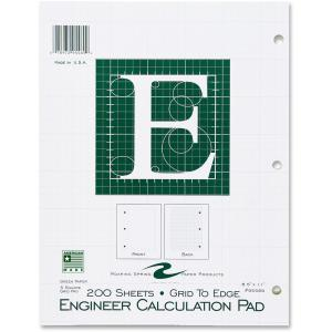 Roaring Spring Engineering Computation Pad 8.5 x 11 Inches 200 Sheets Green Paper Grid-to-Edge Back of each Sheet 3-Hole Punched (95589)