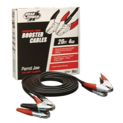 Coleman Cable 08760 20-Feet Heavy-Duty Auto Battery Booster Cables with Parrot Jaw Clamps, 4-Gauge