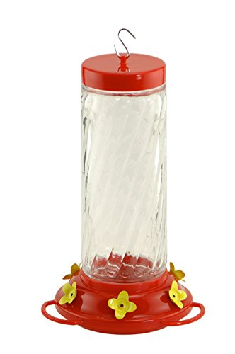 Audubon NA35227 Swirl Glass Hummingbird Feeder, 30-Ounce