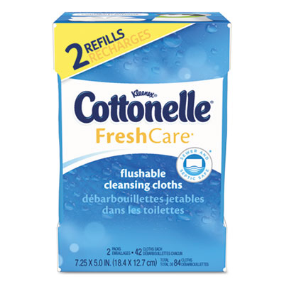Kleenex Cottonelle Fresh Care Flushable Cleansing Cloths, White, 84 ct