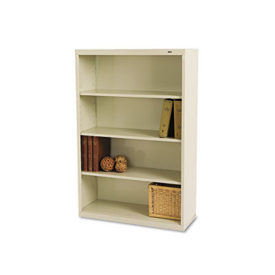 Metal Bookcase, Four-Shelf, 34-1/2w x 13-1/2d x 52-1/2h, Putty