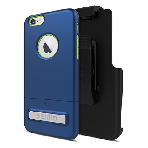 Seidio SURFACE with Metal Kickstand Case & Belt-Clip Holster for iPhone 6/6S - Non-Retail Packaging - Royal Blue/Green