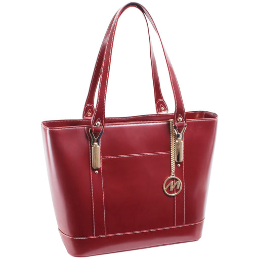 Women's Stylish Tote w/Tablet Pocket, Leather, Small, Red - Arya | McKlein - 97716