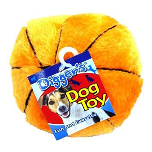 "Boss Pet 0880916 Digger's 5"" Plush Basketball Dog Toy with Squeaker"
