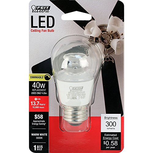 Feit Electric BPA15/CL/DM/SU/LED Dimmable Led Bulb, 40 W, 120V, 300 Lumens, 3000K