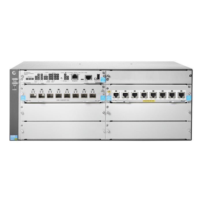 HP 5406R 8-port 1/2.5/5/10GBASE-T PoE+/ 8-port SFP+ (No PSU) v3 zl2 Switch - 8 Network, 8 Expansion Slot, 4 Expansion Slot - Manageable - Twisted Pair, Optical Fiber - Modular - 3 Layer Supported - 4U High - Rack-mountable - Lifetime Limited Warranty