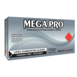 MEGA PROÂ Extended Cuff Latex Exam Gloves, Box of 50, Size Small