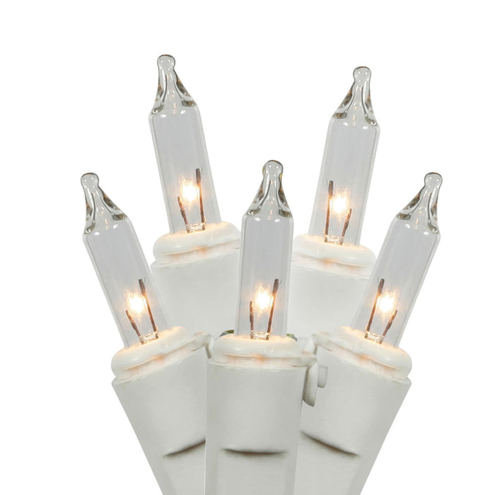 "Vickerman W4W0751 50Lt Random Twinkle End Connecting Light Set with White Wire, 4"" Spacing, 16' Long & Pbh, Clear"