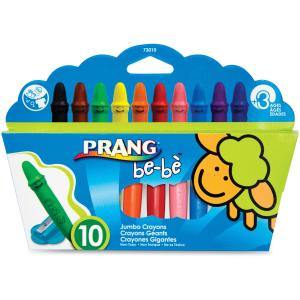 Prang be-be Jumbo Crayons, Washable, Includes Sharpener, Assorted Colors, 10 Count (73010)
