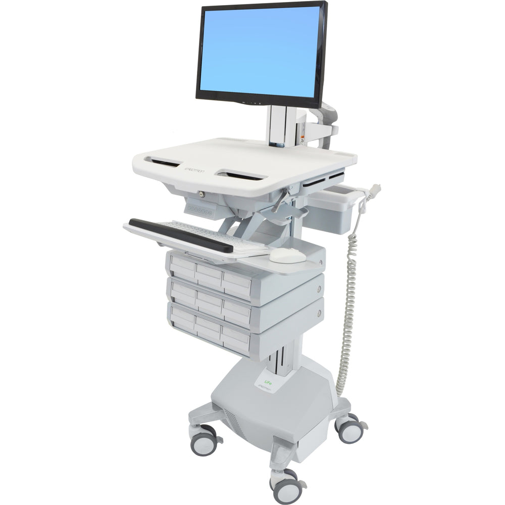 Ergotron StyleView Cart with LCD Pivot, LiFe Powered, 9 Drawers - 9 Drawer - 33 lb Capacity - 4 Casters - Aluminum, Plastic, Zinc Plated Steel - White, Gray, Polished Aluminum