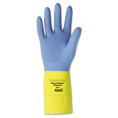 Ansell 224-10 Chemi-Pro Unsupported Neoprene Gloves, Yellow/Blue, Size 10 (Pack of 12)