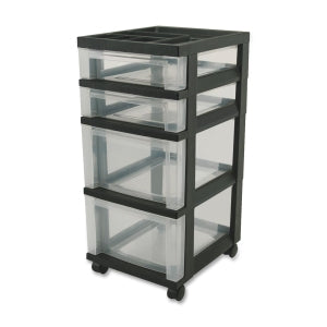 "Wholesale CASE of 5 - Iris Mini Clear Plastic Storage Cart-Mini Chests,4-Drawer,12-1/16""x14-1/4""x26-7/16"",Black"