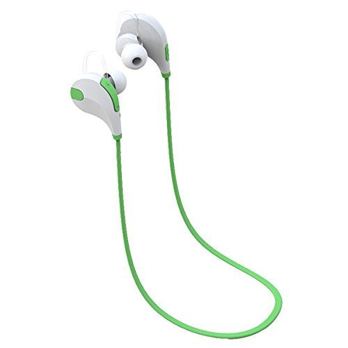 YT QY-7 Bluetooth CSR 4.1 + EDR In-Ear stereo Headset for Running with Mic, Sweat proof wireless neckband earphone with CVC6.0 Noise cancelling, Green