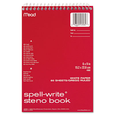 Mead Spell-Write Steno Book, Gregg Rule, 6 x 9 Inches, White, 80 Sheets (MEA43082)