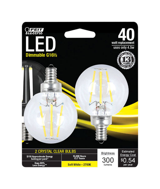 Feit Electric - Decorative Clear Glass Filament LED Dimmable 40W Equivalent Soft White (2700K) Globe Bulb, Pack of 2 (BPG1640/827/LED/2)
