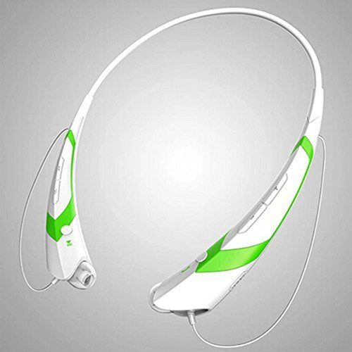 YT TM-760 Bluetooh neckband style headset, Sport Headphones,Compatible wireless earphones, up to 360 Hrs standby Earbuds, White/Green