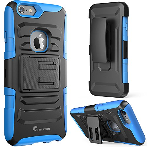 iPhone 6 Case, i-BlasonDual Layer [Kickstand] Apple iPhone 6 Case (4.7-inch) Prime Series Holster Cover with Kickstand and Locking Belt Swivel Clip for iPhone 6 (Blue)