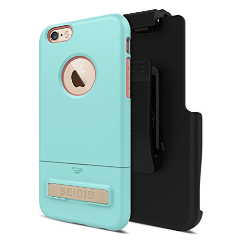 Seidio SURFACE with Metal Kickstand Case & Belt-Clip Holster for iPhone 6/6S - Non-Retail Packaging - Aqua/Pink