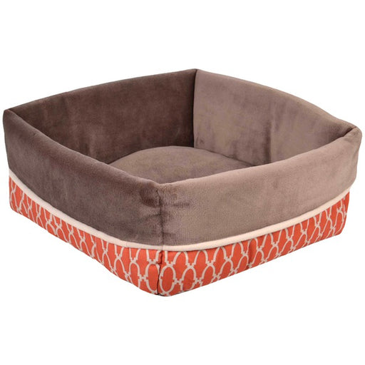 "Wild Olive Portugal Square Cuff Pet Bed, Brown & Burnt Orange, 17"" x 6"", Brown; Burnt Orange"