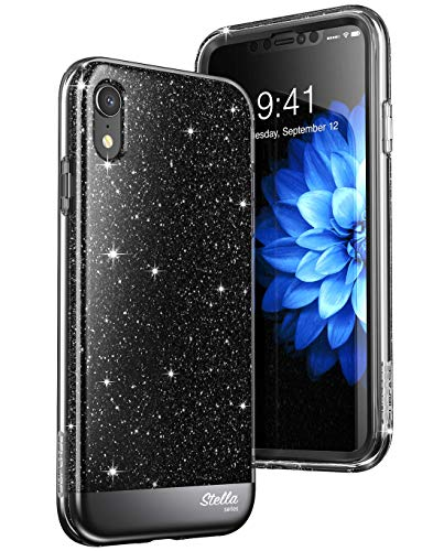 SUPCASE iPhone XR Case, [Unicorn Beetle Stella] with Built-in Screen Protector Premium Hybrid Shinning Glitter Bling Protective Case for Apple iPhone XR 6.1 Inch 2018 Release (Black)