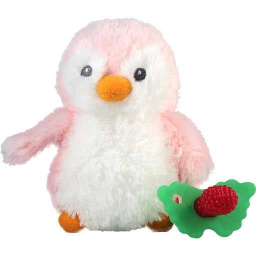 RaZbaby RaZ-Buddy and Teether - Reilly Penguin - RaZ-Buddy and RaZ-Berry Teether - Multi-Textured Pacifier - Soothe Baby's Gums - Teether is Removable from Plush Penguin - Machine Washable