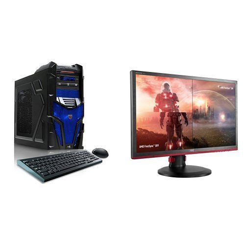 "CybertronPC Shockwave X6-9600 Blue Gaming Desktop  and AOC G2460PF 24"" Free Sync Gaming Monitor Bundle"