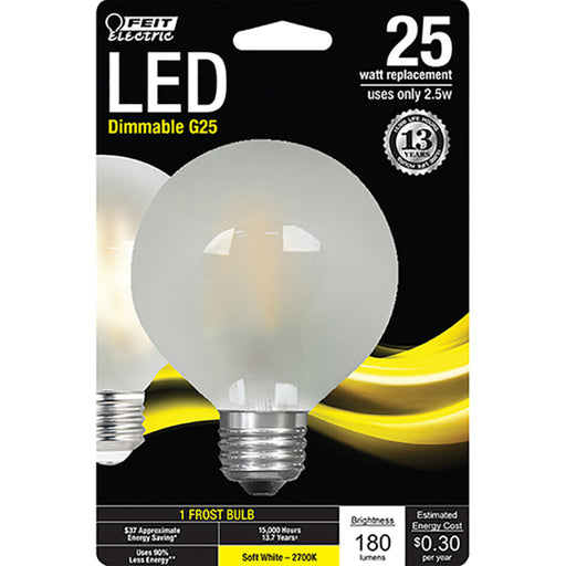 Feit Electric - Decorative Frost Glass Filament LED Dimmable 25W Equivalent Soft White (2700K) G25 Globe Light Bulb (BPG2525/F/827/LED)