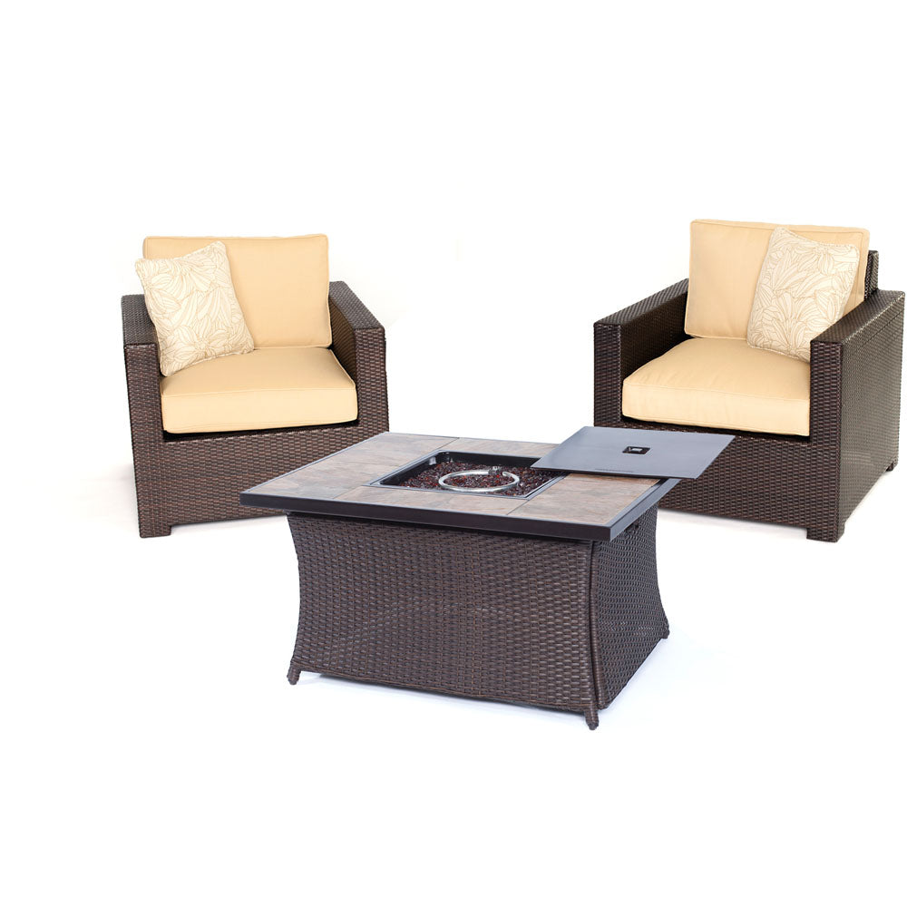 Hanover MET3PCFP-TAN-B Metropolitan 3 Piece Chat Set with LP Gas Fire Pit Table, Sahara Sand